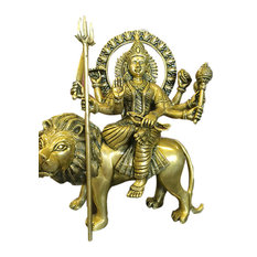 Mogul Interior - Brass Sculpture Statue Durga Seated on a Lion Hindu Goddess of Power Altar Yoga - Decorative Objects And Figurines