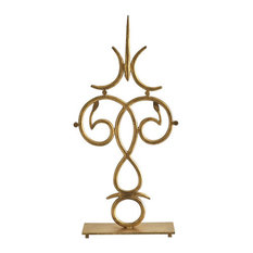 Colonial Williamsburg Iron Scroll Clock Hand Statue, Gold Swirl Antique Style