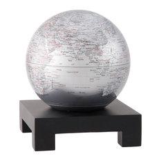 "MOVA 6"" Silver Earth Revolving Globe With Square Black Wood Base"