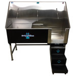 """Groomer's Best - Elite Dog Wash, Black, 48"""", Left Drain - Groomers Best Elite Bathing Tub is top of the line.  Featuring a fully welded design and double sealed.  Our textured coating protects your tub and guarantees no leaking or rusting, and can also be ordered in a color to match your decor.  Includes Lift & Slide steps that allow the animals ease of access and smoothly slide underneath the tub for your convenience.  Removable raised tray is great for small dogs! No assembly required, wash tub ships ready to install!  Easy to use and maintain!"""