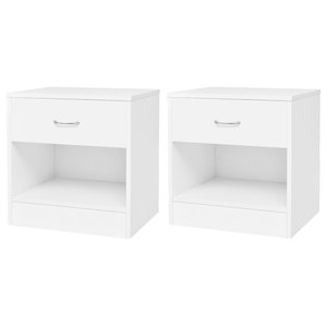 VidaXL Bedside Cabinets With Drawer,  Set of 2, White