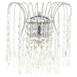 Waterfall Double Crystal Wall Light, Chrome