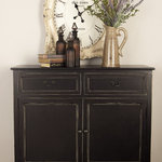 """Brimfield & May - Wood Black Cabinet, 40""""x36"""" - 40"""" X 36"""" Farmhouse wood cabinet, black paint finish pine and wood-style mdf, rectangular cabinet with solid top, footed base, 2 beveled distressed edge frame slide-out top drawers and 2 lower cabinet doors with black iron handles"""