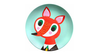 Helen Dardik Melamine Plate Orange Fox on Light Turquoise
