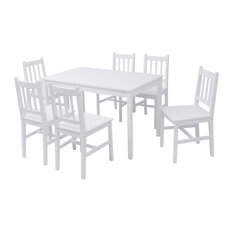vidaXL 7-Piece Pinewood Dining Set, White