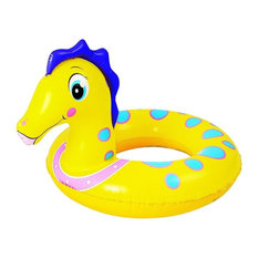 """24"""" Yellow and Blue Seahorse Children's Inflatable Swimming Pool Inner Tube Ring"""