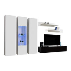 Fly C 30TV Wall Mounted Floating Modern Entertainment Center White/Black C5