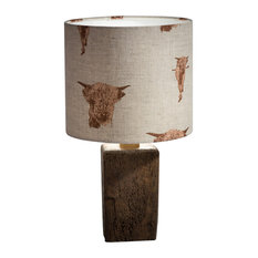 Rustic Beam Table Lamp, Highland Cow