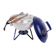 Portable Navy and White Tabletop BBQ