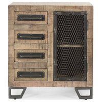 Dawn Industrial Mango Wood Cabinet With Wire Door and 4 Drawers