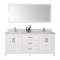 "60"" Belvedere Modern Freestanding White Double Bathroom Vanity With Marble Top"