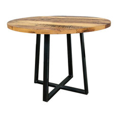 Round Reclaimed Wood Dining Table With Metal Pedestal Base 34-inchx30h-inch