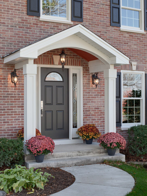 Colonial portico houzz for Front door patio ideas