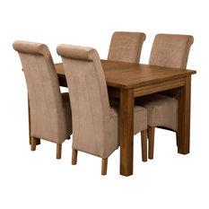 Cotswold Rustic Oak Extending Table, 4 Montana Chairs, Beige Velvet Effect