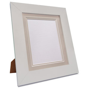 "Brix Frame, White, Light Grey Double Mount, 12x10"", Image 10x8"""