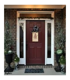 door color for red brick house with black shutters