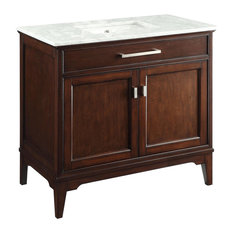 "Chans Furniture - 36"" Modern-Style Theron Bathroom Sink Vanity With Carrara Marble Top, Soft Close - Bathroom Vanities and Sink Consoles"