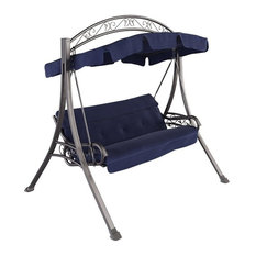 CorLiving Patio Swing with Arched Canopy in Navy Blue