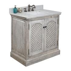 "31"" Rustic Solid Fir Sink Vanity, Gray, No Faucet"