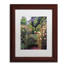 "David Lloyd Glover 'Quiet Garden Entrance' Art, Wood Frame, 11""x14"", White Matte"