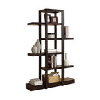 Open Concept Display Etagere Bookcase, Cappuccino
