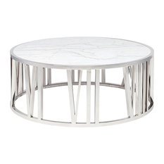 Roman Round White Marble Coffee Table Contemporary Modern Coffee Table Large
