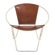 Metal Real Leather Chair, Cognac