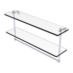 """22"""" Two Tiered Glass Shelf with Integrated Towel Bar, Polished Chrome"""