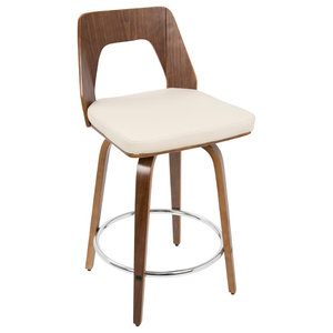 LumiSource Trilogy Counter Stool, Walnut and Cream