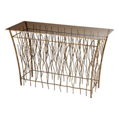 Brittany Branch Console Table, Antique Gold