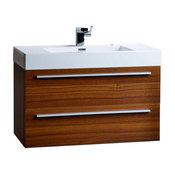 """ConceptBaths 35.5"""" Wall-Mount Contemporary Bathroom Vanity Teak"""