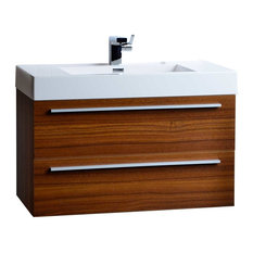 "ConceptBaths 35.5"" Wall-Mount Contemporary Bathroom Vanity Teak"
