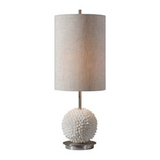 Luxe White Sea Shell Sphere Table Lamp, Silver Tall Beige Shade Coastal Ball