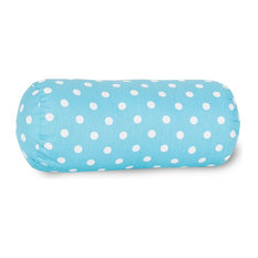 Aquamarine Small Polka Dot Round Bolster Pillow 18.5x8