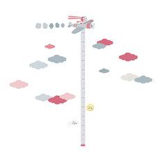 Aviator Vinyl Child's Growth Chart, Pink and Grey, 30x148 cm