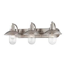Minka Lavery 5133-84 3-Light Bath, Brushed Nickel Finish W Clear Glass