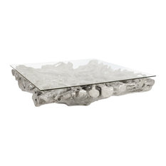 Square Root Coffee Table, With Glass