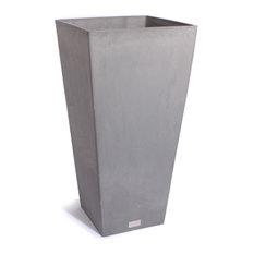 "MOD - Ramona Square Planter Box, Gray, 28"" - Outdoor Pots and Planters"