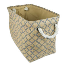 DII Burlap Bin Lattice Gray Rectangle Large 18x12x15""