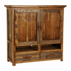 Mountain Woods Furniture - 2 Drawer Rustic Wood TV Armoire (Tooled Leather) - Media Storage