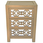 """River of Goods - 25.75"""" Mini Glam Slam Mirrored 3-Drawer Cabinet, Gold - Glam it up! This cabinet features three pull-out drawers with the same interlocking circles against a mirrored background, complemented by matching pull knobs. Mirrors give the illusion of extra space by reflecting the light, as well as adding a little shimmer and shine. Give your home a designer touch!"""