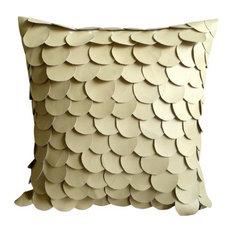 Mermaid Design 35x35 Faux Leather Beige Accent Cushions, Mermaid