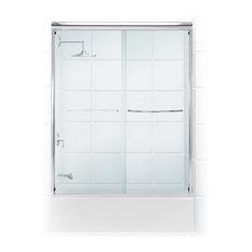 "Coastal Paragon .25"" Frameless Sliding Tub Shower Door, Chrome, 52""-54""x58"""