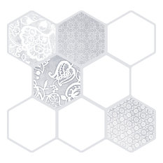 """Vice & Virtue White 18""""x18"""" Porcelain Floor and Wall Tile Tile, Set of 9"""
