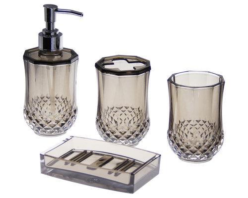 JustNile Acrylic 4 Piece Bathroom Accessory Set Translucent Grey   Bathroom  Accessory Sets