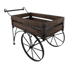 Rustic Wood And Metal 2 Wheeled Wagon Cart/Planter
