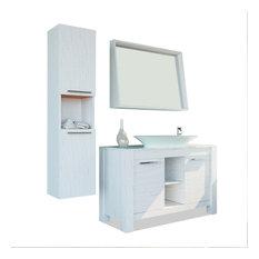 Bathroom Vanity Set Single Sink Freestanding, Pageo, Veneer Country White