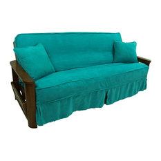 Solid Microsuede Full Futon Slipcover Set, Aqua Blue