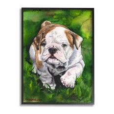 """English Bulldog Puppy Dog Pet Animal Watercolor Painting Framed Wall Art, 30"""""""