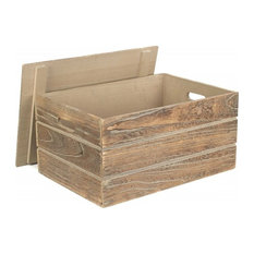 Lidded Oak Effect Wooden Storage Crate, Extra Large